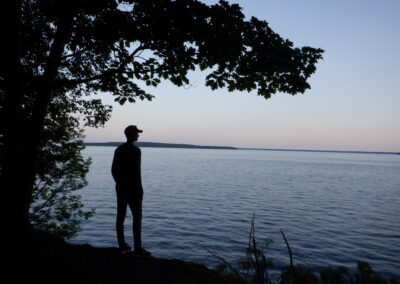A camper experiences peace on Lake Superior